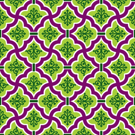 colour image: vector seamless pattern  with cell green floral ornament