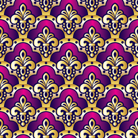asia: vector pattern  with seamless purple and gold ornament