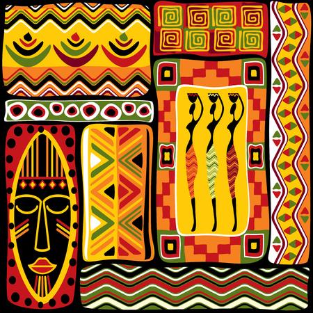 arte africano: vector de fondo sin fisuras con elementos de dise�o de �frica