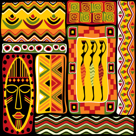masks: vector seamless background with African design elements Illustration