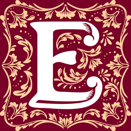 initial cap: letter E vector image in the old vintage style