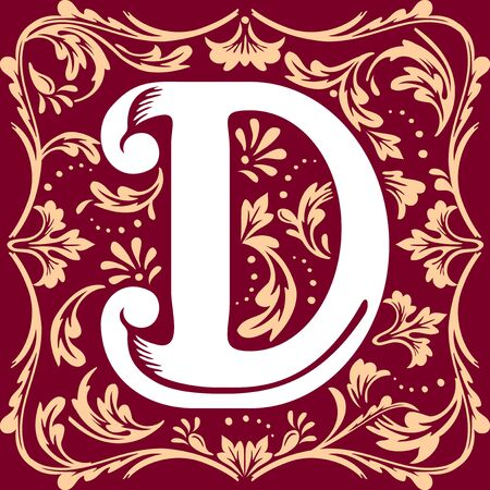 initial cap: letter D vector image in the old vintage style Illustration