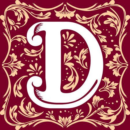 letter D vector image in the old vintage style Illustration