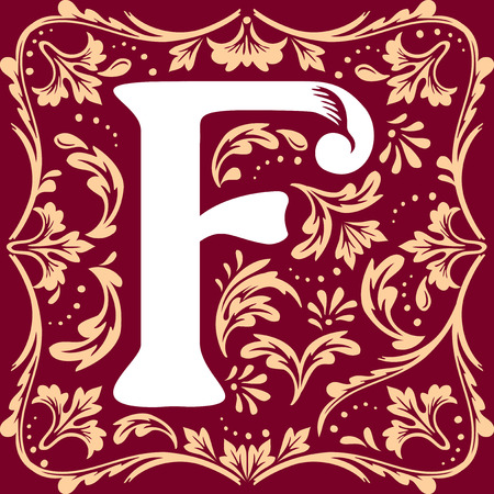 initial cap: letter F vector image in the old vintage style Illustration