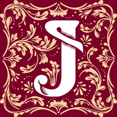 cartas antiguas: carta imagen vectorial J en el estilo de época antigua Vectores