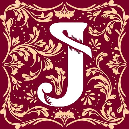 initial cap: letter J vector image in the old vintage style Illustration