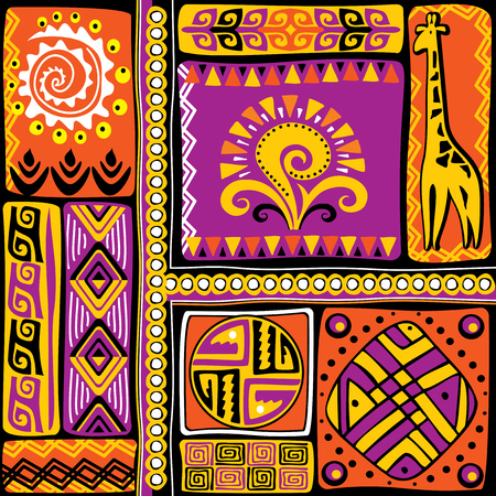 primitivism: vector image with african design elements and ornament