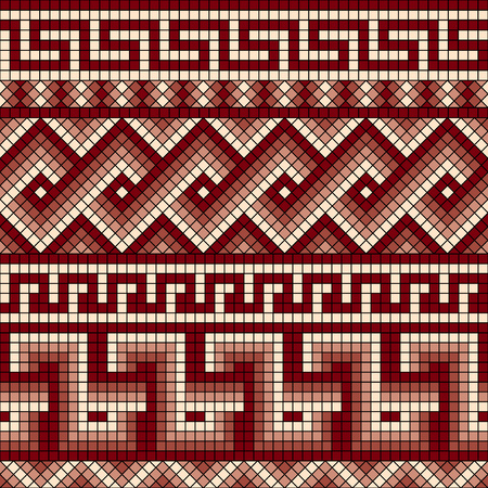 earthenware: vector seamless mosaic with classic Greek meander ornament Illustration
