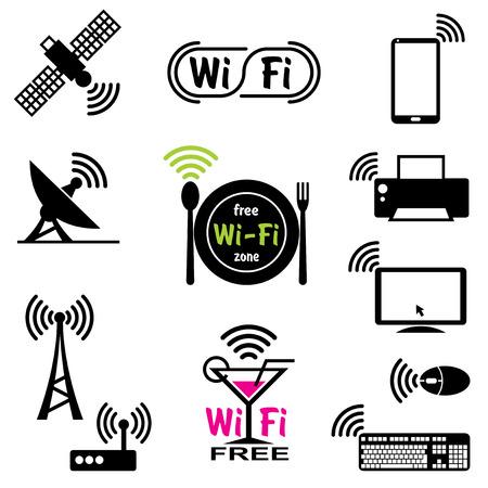 通信: wifi の技術と無線通信のためのベクトルのアイコンを設定します。