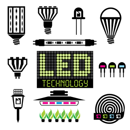 set vector icons of light-emitting and LED equipment
