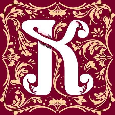 old letter: letter K vector image in the old vintage style
