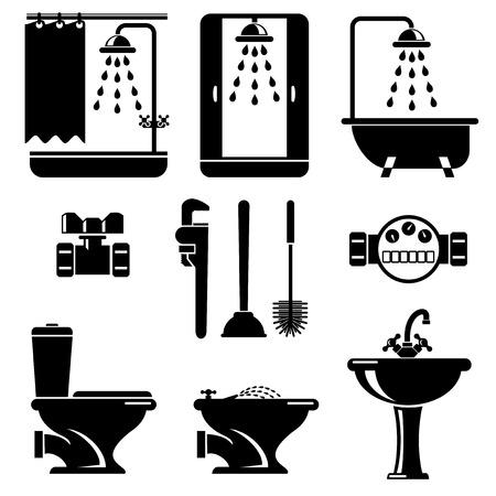 inodoro: establecidos iconos vectoriales de baño y aseo equipos Vectores