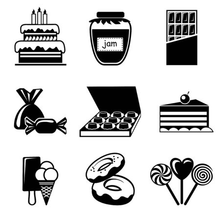 set vector icons of confection and shokolade Ilustrace