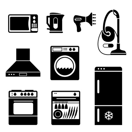 set vector icons of electric household and home appliances