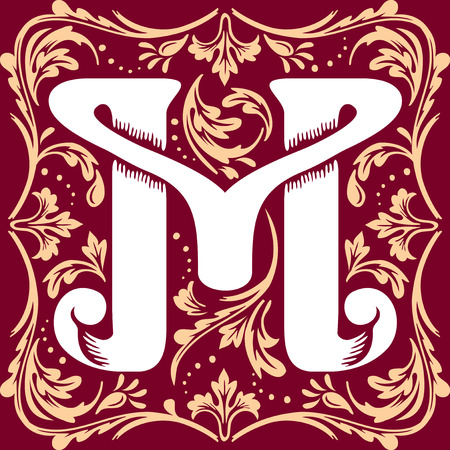 initial cap: letter M vector image in the old vintage style Illustration