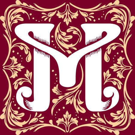 letter alphabet: letter M vector image in the old vintage style Illustration