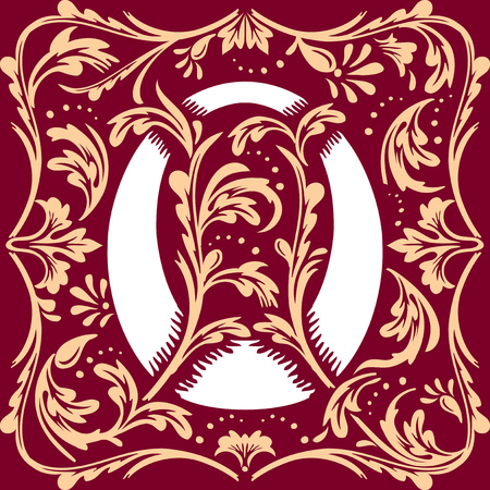 cocao: letter O vector image in the old vintage style