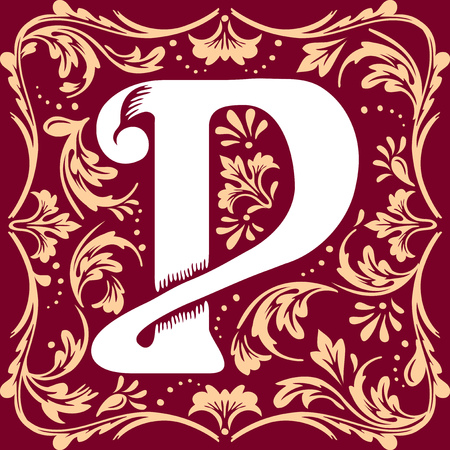 initial cap: letter P vector image in the old vintage style