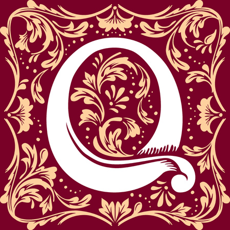 initial cap: letter Q vector image in the old vintage style Illustration