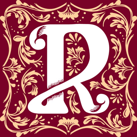 initial cap: letter R vector image in the old vintage style Illustration