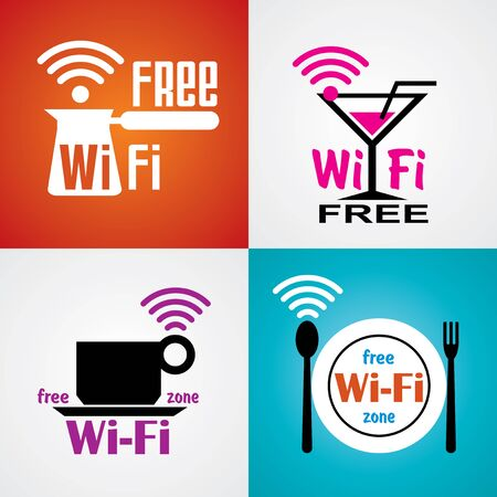 wifi: set vector images for wifi cafe and restaurant