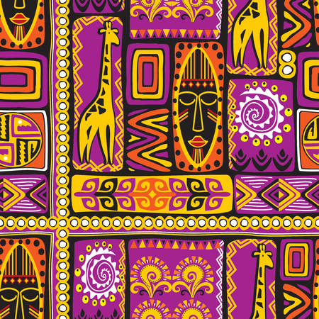 vector seamless background with violet African design elements