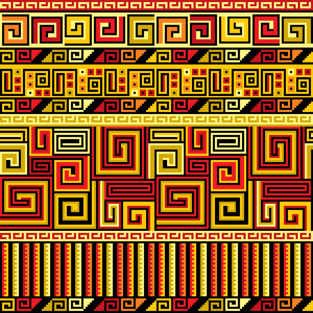 primitivism: vector seamless background with Peruvian ornament