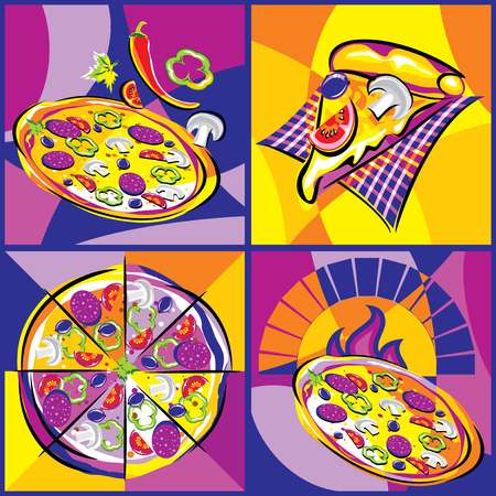 bright collection of vector images of various pizza