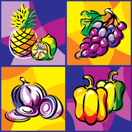 bright collection of vector images of various fruits and vegetables