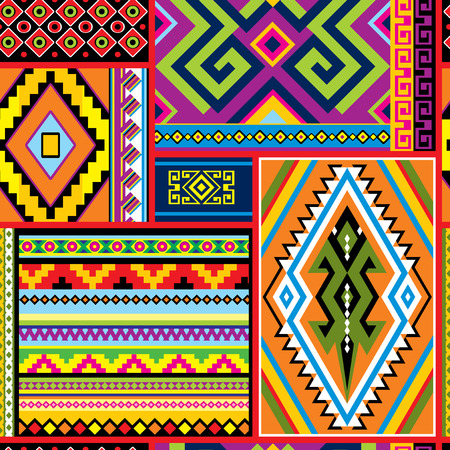 primitivism: vector seamless background with mexican design elements and ornament