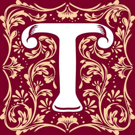 immagine vettoriale lettera T nel vecchio stile vintage