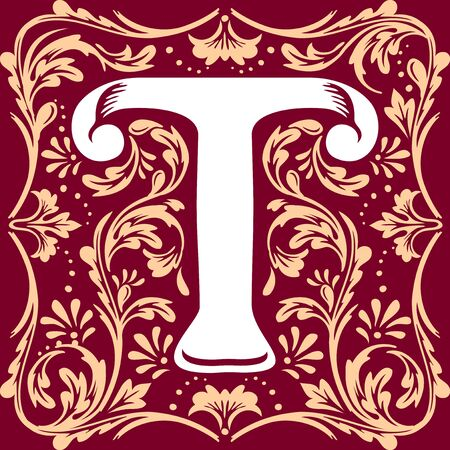 letter T vector image in the old vintage style