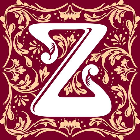 letter Z vector image in the old vintage style