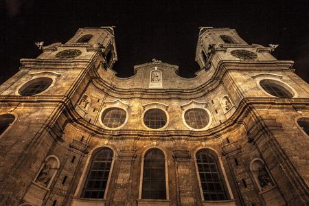 innsbruck: Innsbruck Cathedral at Night Stock Photo