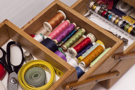 sewing box: A sewing box with colorful threads and tools.