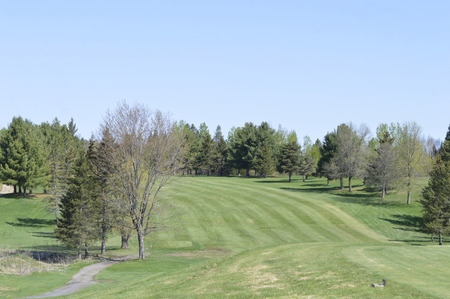 Good look at the tee and fairway from a golf course in Western Quebec.  Trees, sand traps, bunkers  and gullies all create golfing hazards