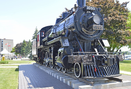 Locomotive called The Sir John A sits in Confederation Park.  The train was decommissioned in 1960 and now sits as a testiment to Sir John A MacDonald in Kingston, Ontario. Editorial