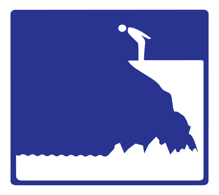 vector graphic showing a person looking down over a cliff.  Can be used for multiple purposes