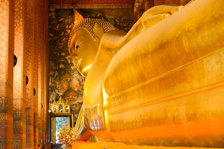 human representation: Reclining Buddha Wat Pho Stock Photo
