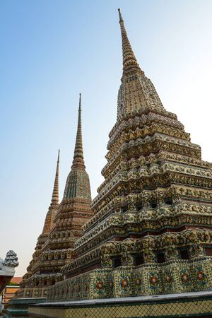 wat pho: Pagoda Wat Pho temple,Bangkok in Thailand Stock Photo