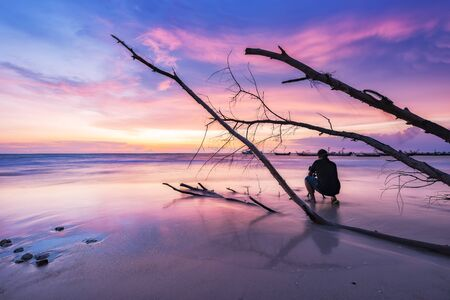 sunset on the beach naiyang phuket Stock Photo