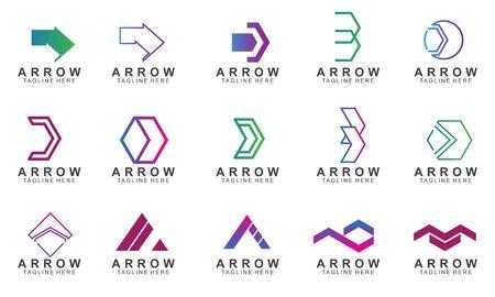 Set of arrow logo design with creative concept. Icon arrow vector illustration