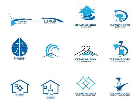 Satz von Reinigungs- und Wartungslogoschablone. Reinigung von Wohnungen und Büros. Logo