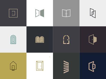 set of Premium door logo design. abstract door icon vector illustration