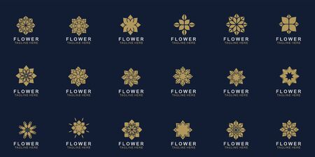 Set of Premium flower logo design. Luxury flower abstract vector. jewel boutique vector sign