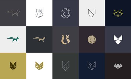 Set of Fox logo with modern concept. Vector icon fox design