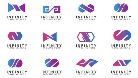 Set of Premium infinity logo design. Icon infinity vector illustration Illustration