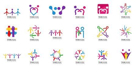 Set of Team Work Logo Design. Together. Modern Social Network Team Logo Design Logo