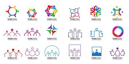 Satz von Teamarbeit-Logo-Design. Zusammen. Modernes Social Network Team Logo-Design