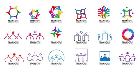 Set of Team Work Logo Design. Together. Modern Social Network Team Logo Design